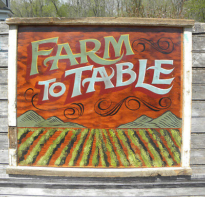 Farm to Table Sign wooden hand painted art vintage looking  decor farmers market