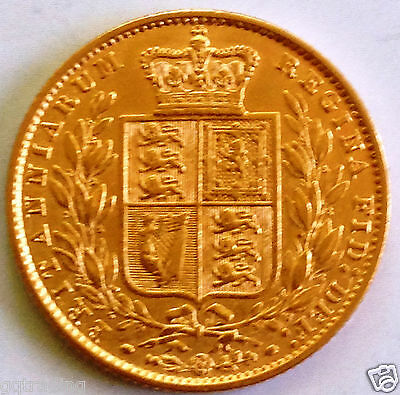 1853  Victoria Shield full  Sovereign   excellent coin #22
