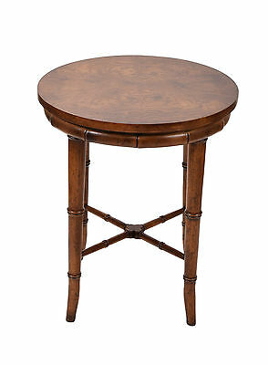 Vintage Henredon Burled Walnut Faux Bamboo Round Side End Table