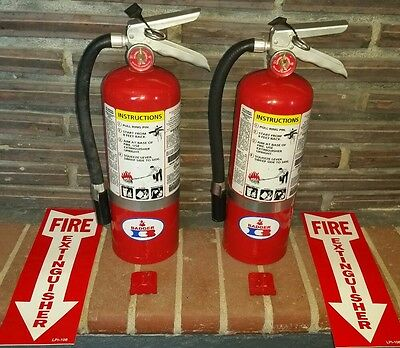 Set of 2 Fire extinguishers 5lb ABC w/ hanger and sign