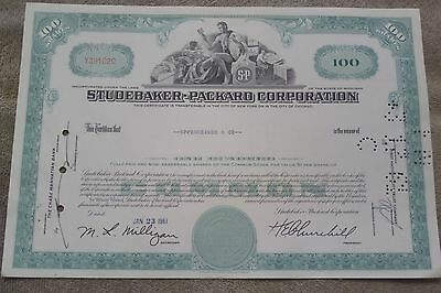 Studebaker-Packard Corporation Stock Certificate Dated 1961