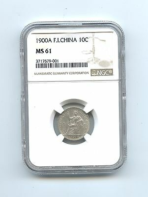 1900 A 10 Centimes French Indo China, NGC graded MS 61