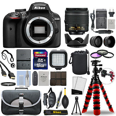 Nikon D3400 Digital SLR Camera with 18-55mm VR Lens + 16GB Mega Accessory Bundle