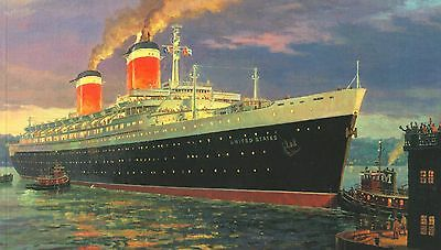 ss United States Line Blue Riband American Flag Ocean Liner Picture History Book