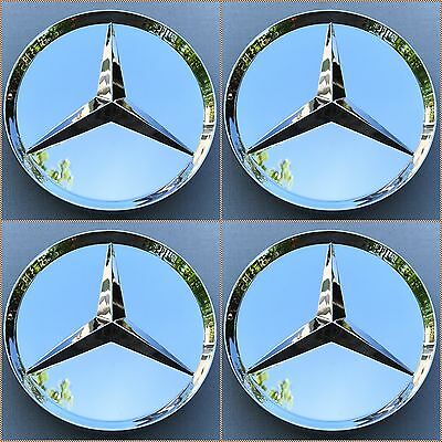 NEW (SET OF 4) 75mm FULL CHROME PLATED WHEEL CENTER CAPS FOR MERCEDES A1 WC515