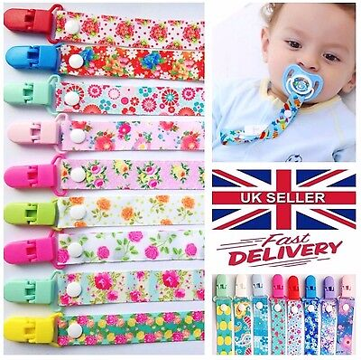 ***baby Boys Girls Themed Dummy Soother Clip Strap Pacifier Summer Flowers***
