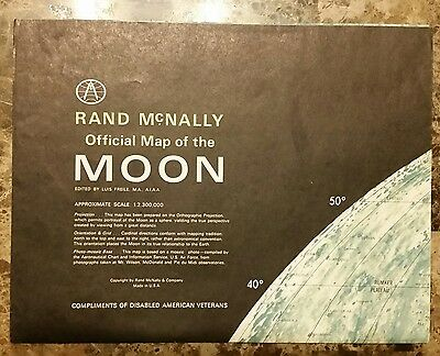 "Vintage, Rare 1958 Rand McNally ""Official Map Of The Moon"" Compliments of DAV"