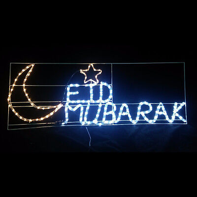 Ramadan Decoration Happy Mubarak Eid Hilal Crescent LED Lights Mosque Masjid