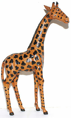 Vintage 18 Inch Tall Hand Crafted Leather Giraffe With Glass Eyes