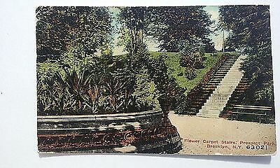 c1907 NY Postcard Brooklyn, New York, Prospect Park Flower Garden Scene posted