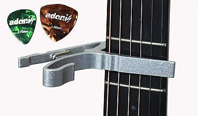 Capo with 2 Picks for Acoustic Electric Guitar Silver Shipping from Toronto