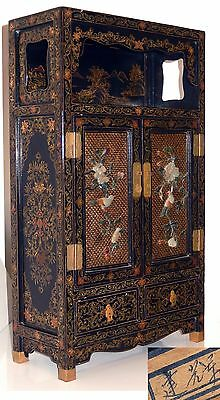 Antique CHINESE Lacquer CABINET Carved Hardstone Jade Inlay BIRD Flowers 24in