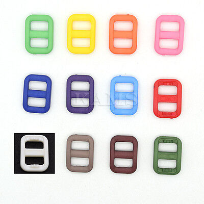 "Colorful 3/8"" Slider Tri-Glide Adjust Buckles Backpack Straps Webbing 10mm"