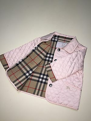 New Authentic Burberry Piink Check Kids Infant Baby Girl Coat Jacket 9M 12M