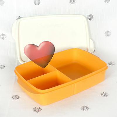 NEW Tupperware Large Divided Square Lunch Box Mango Orange
