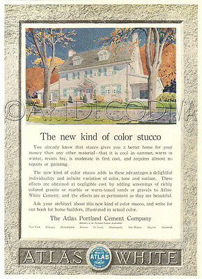 Antique Color STUCCO Atlas Portland Cement HOME House Architectural Design Ad