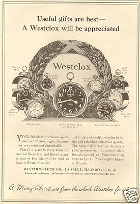 1927 antique WESTCLOX Alarm Clock Luminous Face BLACK BIRD Jack O'Lantern AD