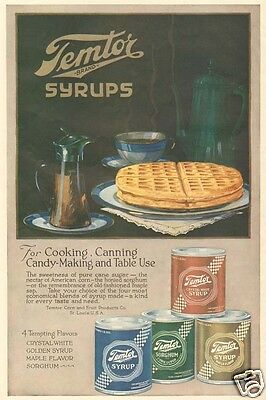 antique TEMTOR Waffle Syrup BREAKFAST Maple Corn CAN Kitchen Food CULINARY AD