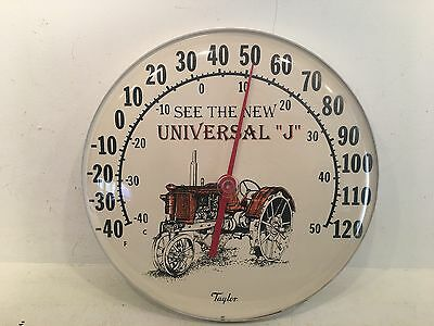"""Vintage Taylor Advertising Thermometer Farm Tractor Universal """"j"""" 12"""" Round"""