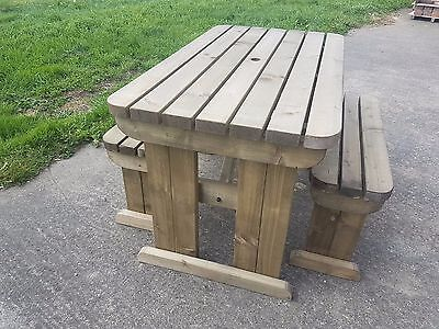 YEWS COMPACT Rounded Picnic Table Bench - 4FT to 8FT Hand Made Outdoor Furniture