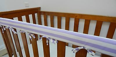 SET OF TWO Baby Cot Rail Cover Crib Teething Pad - Lilac / Mauve White Stripes