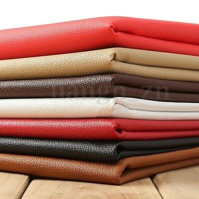 PU Leather Fabric Solid Color Car Interior Upholstery Home Decor Table Cover