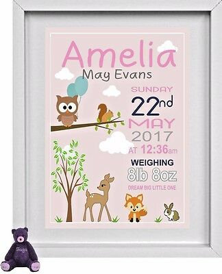 "NEW BORN BABY GIRL NAME | Nursery Picture | Personalised | 10"" x 8"" 