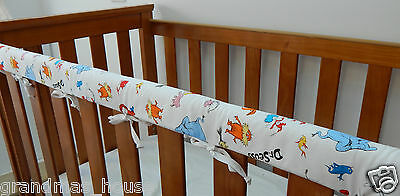 SET OF TWO Baby Cot Crib Rail Cover Teething Pad Dr Seuss Characters On White