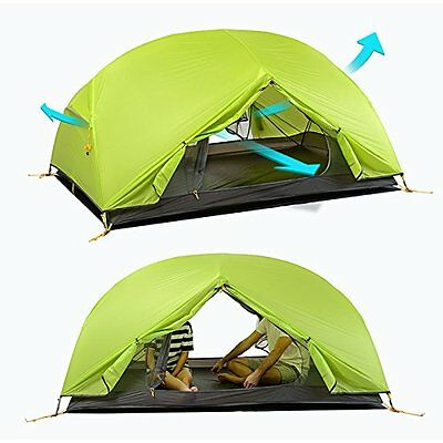 NEW 1 2 Person Ultra Light Camping Hiking EASY Tent 1.8 kg Double Layer (Green)