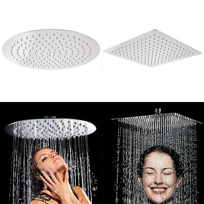 "12"" Large Chrome Stainless Steel Water Rainfall Overhead Top Shower Head Spray"