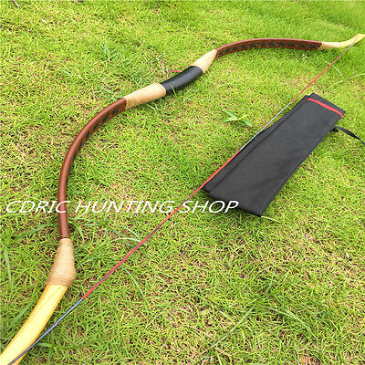 Outdoor Archery Brown Genuine Leather Bow Handmade Traditional Longbow20-60ibs