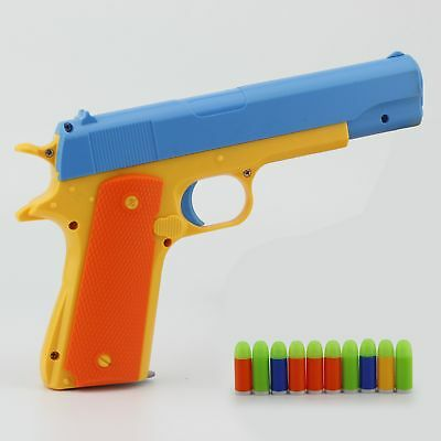Magazine Toy Gun Pistol & 10 Soft Bullets Colt 1911 Rubber Bullet Toy