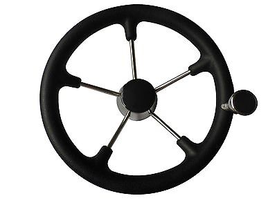 5-spoke 13-1//2 Inch Destroyer Style Stainless Steering Wheel /& Big Size Knob-BM