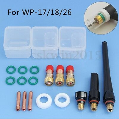 20Pcs TIG Welding Torch Stubby Gas Lens Cup Collet Kit Tools For WP-17/18/26