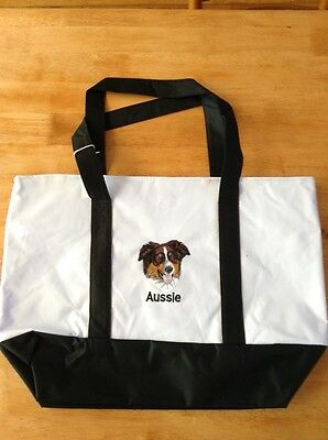 Aussie Australian Shepherd Large Poly Embroidered Tote Bag