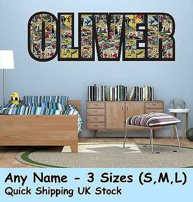 Personalised Name Marvel Wall decal stickers  for Boys/Girls Bedroom Decor #1