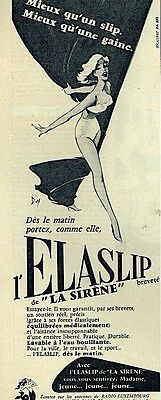 B- Publicité Advertising 1956 Lingerie la Gaine Elaslip La Sirène