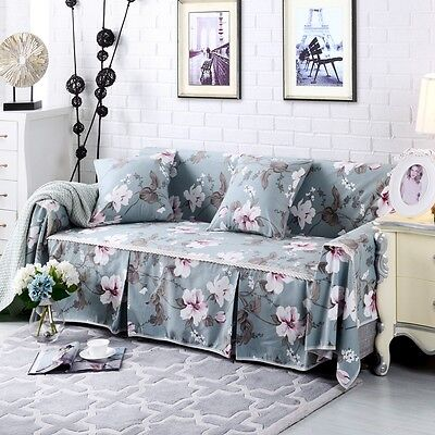Canvas 100% Cotton Slipcover Sofa Cover oUKL for 1 2 3 4 seater Floral jzhk