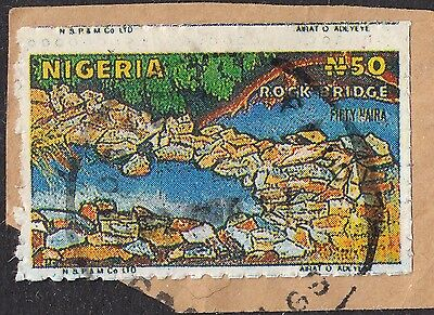 "Nigeria 1986 50n Rock Bridge Postal Forgery for ""Nigerian Scam"" Mail on Piece"