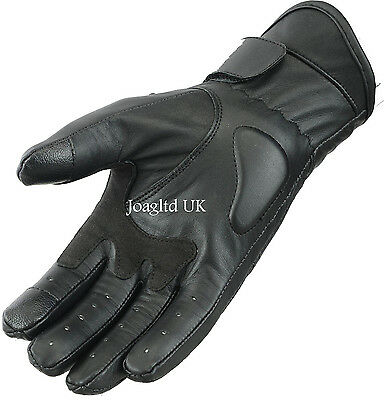 Leather Motorbike Motorcycle Touch Gloves Knuckle Shell Protection Vented Summer