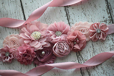 Maternity Sash, classic mauve Sash# 2, flower Belt, maternity sash, wedding sash
