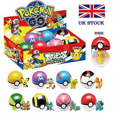 Pokemon Pokeballs 8 PCS & 8 Pokemon Random Figure inside with Box  UK STOCK !!!!