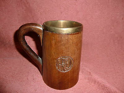 Treen Wood Mug with Copper Insert and carved Monogram - circa 1900