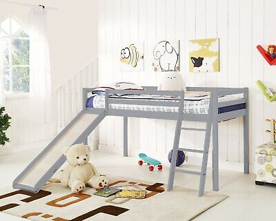Kids Bunk Bed Mid Sleeper with Slide and Ladder Wooden Cabin Bed