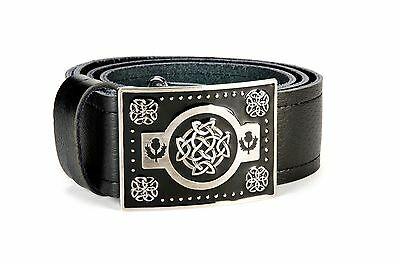 Celtic Knot Leather Kilt Belt and Buckle MG4 Antique + Black