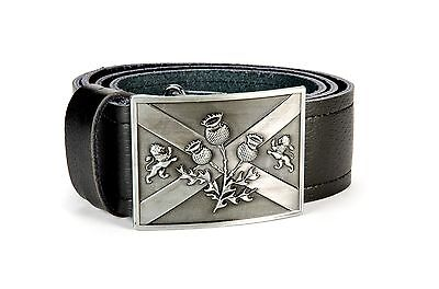 Saltire Thistle Highland Leather Kilt Belt and Buckle MG2 Antique Gunmetal