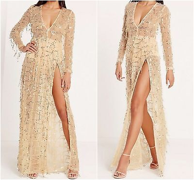 Womens Ladies Missguided Premium Sequin Maxi Dress Gold Size
