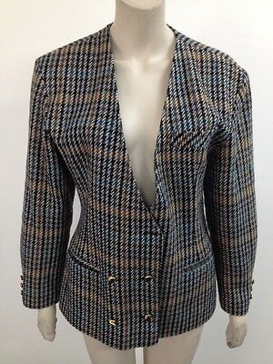 Vintage Teal/Grey/Tan Tweed Double Breasted Wool Blend Blazer Jacket Uk L (Q430)