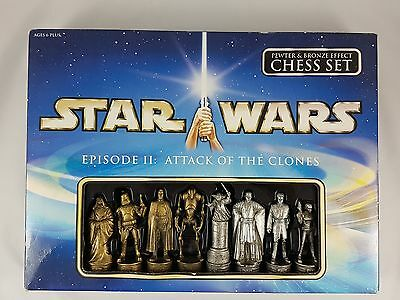 Star Wars Episode II Attack Of The Clones Pewter & Bronze Effect Chess Set