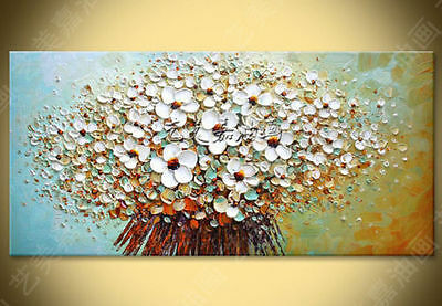 Modern hand-painted Art Oil Painting Wall Decor canvas,White Flowers(No /Frame)
